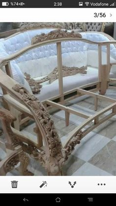 Royal Furniture, Victorian Furniture, Log Furniture, Furniture Upholstery, Upholstered Chairs, Furniture Making, Furniture Design, Wooden Cupboard, Antique Sofa