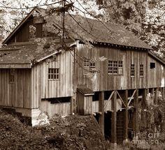 Cedar Creek Grist Mill Sepia Photograph  - Cedar Creek Grist Mill Sepia Fine Art Print by Chalet Roome-Rigdon