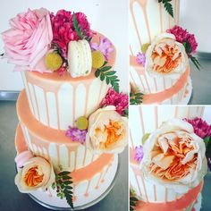 Fresh flowers on a ridiculously delicious and expertly made wedding cake- David Austin roses, Macarons and a peach drop....swoooon | Chocolate2Chilli | Ginger Lily Rose