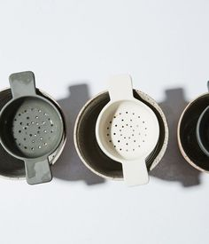 Tea Strainer - matte, unglazed surface pigmented earthenware fits well on many cups slipcast & finished by sue pryke Earthenware Clay, Ceramic Clay, Porcelain Ceramics, Fine Porcelain, Ceramic Spoons, Porcelain Tiles, Painted Porcelain, Stoneware, Hand Painted