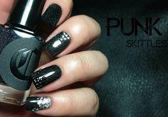 Punk Nail Art Skittles! #nails #skittles #black #blue Get more CLASSY nails at http://bellashoot.com!