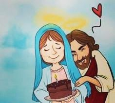 Jesus e Maria Blessed Mother Mary, Blessed Virgin Mary, Catholic Art, Religious Art, Religious Images, Rosary Catholic, Happy Birthday Mama Mary, Jesus Cartoon, Jesus E Maria