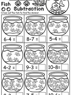 Math Subtraction, Subtraction Activities, Kindergarten Math Activities, Math For Kids, Fun Math, School Lessons, Math Lessons, Math Coloring Worksheets, Math Centers