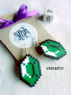 Green and white 8bit Zelda game inspired Gemtastic by SylphDesigns
