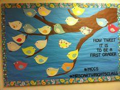 back to school bulletin boards   Back to school bulletin board! #twitter #birds   Education
