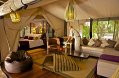 Heritage Hotels Kenya Seguir Family Tent_Shared Living Area  The family tents are an ensemble of a double and a twin tent with a common living area in-between. Each tent is ensuite and is available on its own