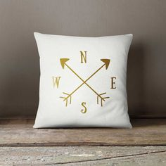 Cushion, Decorative pillow 16x16, Compass pillow, Gold pillow, Home decor, Throw pillow, Pillow cover, Birthday gift idea