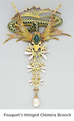 Fouquet winged chimera brooch with enamel and pearls