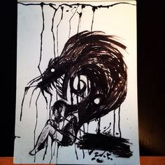 Ink drawing done with glass pen and paintbrush