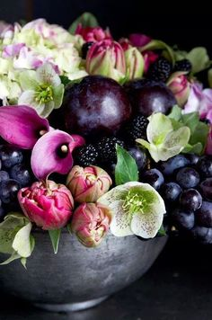 Would make a lovely wedding bouquet - Calla lilies, hellebore, hydrangea mixed with grapes and black berries by Michael George Flowers Fall Flowers, Fresh Flowers, Beautiful Flowers, Wedding Flowers, Fruit Wedding, Wedding Bouquets, Plum Flowers, Bridesmaid Bouquets, Rustic Flowers