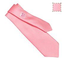 Nattée de Soie Hermes basket weave silk tie in pink, hand-folded, 3.15''