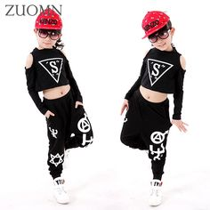 (28.70$)  Buy here - http://ais3k.worlditems.win/all/product.php?id=32789801668 - Kids Popping Dance Costume Set Personalized Top + Pants Performance Children Hip Hop Harem Pants Girl Jazz Dance Clothes YL473
