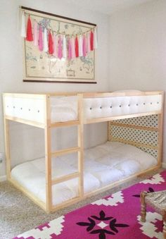 Kids room ideas for girls ikea kura bed hack Ideas Kura Ikea, Ikea Bed Hack, Ikea Hacks, Bunk Bed Plans, Kids Bunk Beds, Bunk Beds For Toddlers, Kids Bed Tent, Bunk Bed Designs, Girls Bedroom