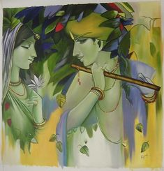 "This is an original painting titled ""Radha Krishna Painting Handmade Modern Oil Hindu Religious God Goddess Artwork"" it was created in 2000 and they are making duplicates even today. The original creator is unknown however we do know that it was created in Asia and ArtnIndia.com currently owns the rights to this piece"