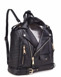 Hottest backpack on the planet, with impeccable tailoring and exquisite design, this ready-to-wear bag is designed like a leather moto jacket, with belt buckle, including zipper embellishments that wo