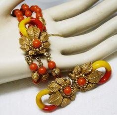 Signed Miriam Haskell Bracelet Adjustable Clip Earrings Orange Mustard Demi | eBay