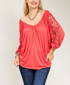 Another great find on #zulily! Coral Crochet Off-Shoulder Top - Plus #zulilyfinds