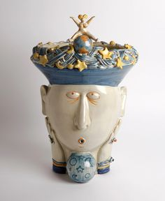 Artistic crafts and professions: The Magician. It's not something a doctor can cure. It's the evil eye!     Headvase design by Ugo La Pietra. Made by Nicolò Morales, Caltagirone (Catania), 2012   Handmade ceramic, height 35 cm. Unique piece. Signed by designer and ceramist.