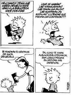 Calvin and Hobbes library humor. Calvin Und Hobbes, Calvin And Hobbes Comics, I Love Books, Books To Read, My Books, Librarian Humor, Beste Comics, Fun Comics, Happy Comics
