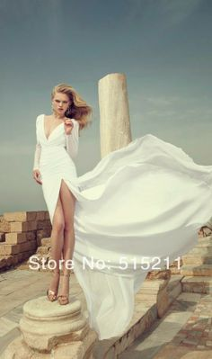 Long Sleeves Open Back White Chiffon Mermaid Wedding Dresses 2014 New Sexy Bridal Gowns-in Wedding Dresses from Apparel & Accessories on Ali...