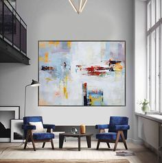 Extra Large Contemporary Painting, Huge Abstract Canvas Art, Original Artwork by Leo. White, yellow, red, gray, blue. - Celine Ziang Art