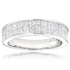 Princess Cut Invisible Set Diamond Wedding Rings 14K Gold Wedding Band 2ct