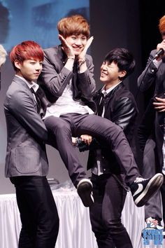 Strongest member, Jung Kook, seems fine carrying Suga and then we have Jimin.