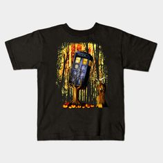 Halloween captured Blue Phone box Kids T-shirt #teepublic #tee #tshirt #clothing #kid #kidtshirt #tardis #doctorwho #vangogh #starrynight #phonebooth #halloween #monster #nightmare #jungle #witch