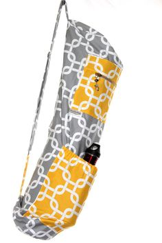 Aimee Yoga Mat Bag in grey and yellow geometric print.  via Etsy.