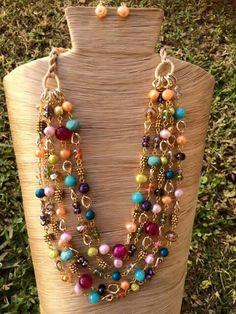 Collar tiras con perlas piedras cristales y cadena chapa