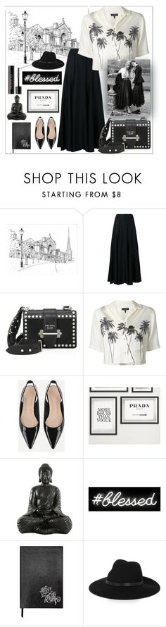 """Gothic Vacation"" by alinabathory ❤ liked on Polyvore featuring Khaite, Prada, rag & bone, Oliver Gal Artist Co., Sloane Stationery, By Malene Birger, Lancôme and vintage"