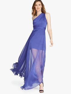 Halston Heritage One Shoulder Crinkle Chiffon Gown