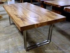 Image result for wood table with steel legs