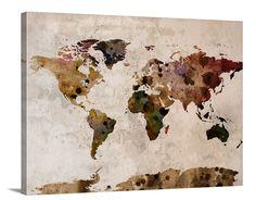 Extra Large Wall Art Retro World Map Canvas Print - Wall Art Framed Rustic World Map Canvas Print - Vintage Large Map Art - Retro Map Art