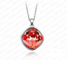 Swarovski Crystallized Siam Red Round Square Crystal Solitaire Pendant Necklace