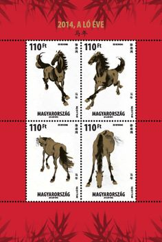 2014 is the Year of the Horse in the Chinese zodiac, which Magyar Posta is celebrating on a miniature sheet. According to the Chinese zodiac, this year will be New Year 2014, Year Of The Horse, Going Postal, Lunar New, Chinese Zodiac, Fauna, Prehistoric, Postage Stamps, Hungary