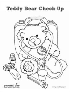 Teddy bear coloring page, fun for children to color in and learn the equipments used in check-up.