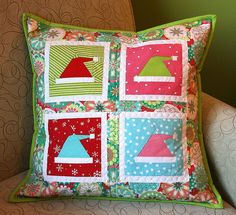 paper pieced Christmas pillow by Better Off Thread, via Flickr