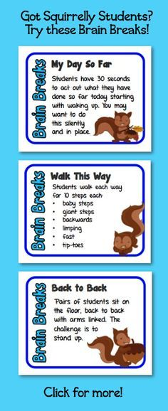 Brain Breaks for Squirrelly Students Brain Breaks for Squirrelly Students! 60 brain break cards to keep your elementary and middle school students happy and focused (and to save teacher sanity). Quick, easy, and super fun! Classroom Behavior, Classroom Fun, Classroom Activities, Classroom Management, Behavior Management, Preschool Songs, Motor Activities, Future Classroom, School Fun