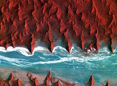 Le désert de Namibie vu du ciel