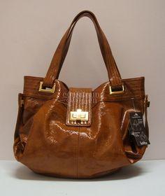 d8b44375b59b Kooba cognac patent leather Natasha convertible tote.  kooba  handbag   shoponline  celebritybag