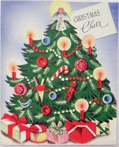 #1221 50s Unused Decorated Tree-Vintage Christmas Greeting Card