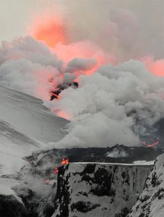 volcano, snow, lava, explosion, clouds