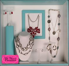 Sleek Links and Poised necklace combo, Poised earring, Angel Mist necklace and earring, Flourish earring, and Marine necklace #pdstyle