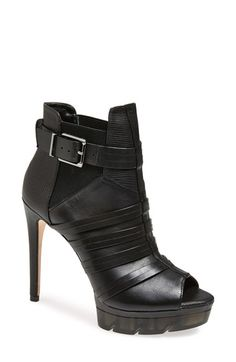 BCBGMAXAZRIA 'Hesh' Peep Toe Bootie (Women) at Nordstrom.com. A quartet of split straps heightens the polished appeal of a snakeskin-embossed peep-toe bootie lifted by a setback stiletto heel.