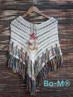Bo-M: Poncho Linen & Cotton merged with fringes