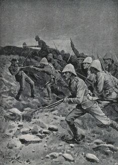 British troops rushing the top of Spion Kop during the Battle of Spion Kop on January 1900 in the Boer War: picture by A. British Soldier, British Army, Military Art, Military History, Vintage Dance, Troops, Soldiers, My Heritage, African History