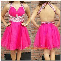 2015 New Arrival Halter Sleeveless Short Beaded Backless Prom Dresses / Homecoming Dresses  LAPD-90059