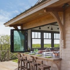 kitchen windows that open up for the outside bar
