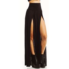 double slit maxi skirt ($23) ❤ liked on Polyvore